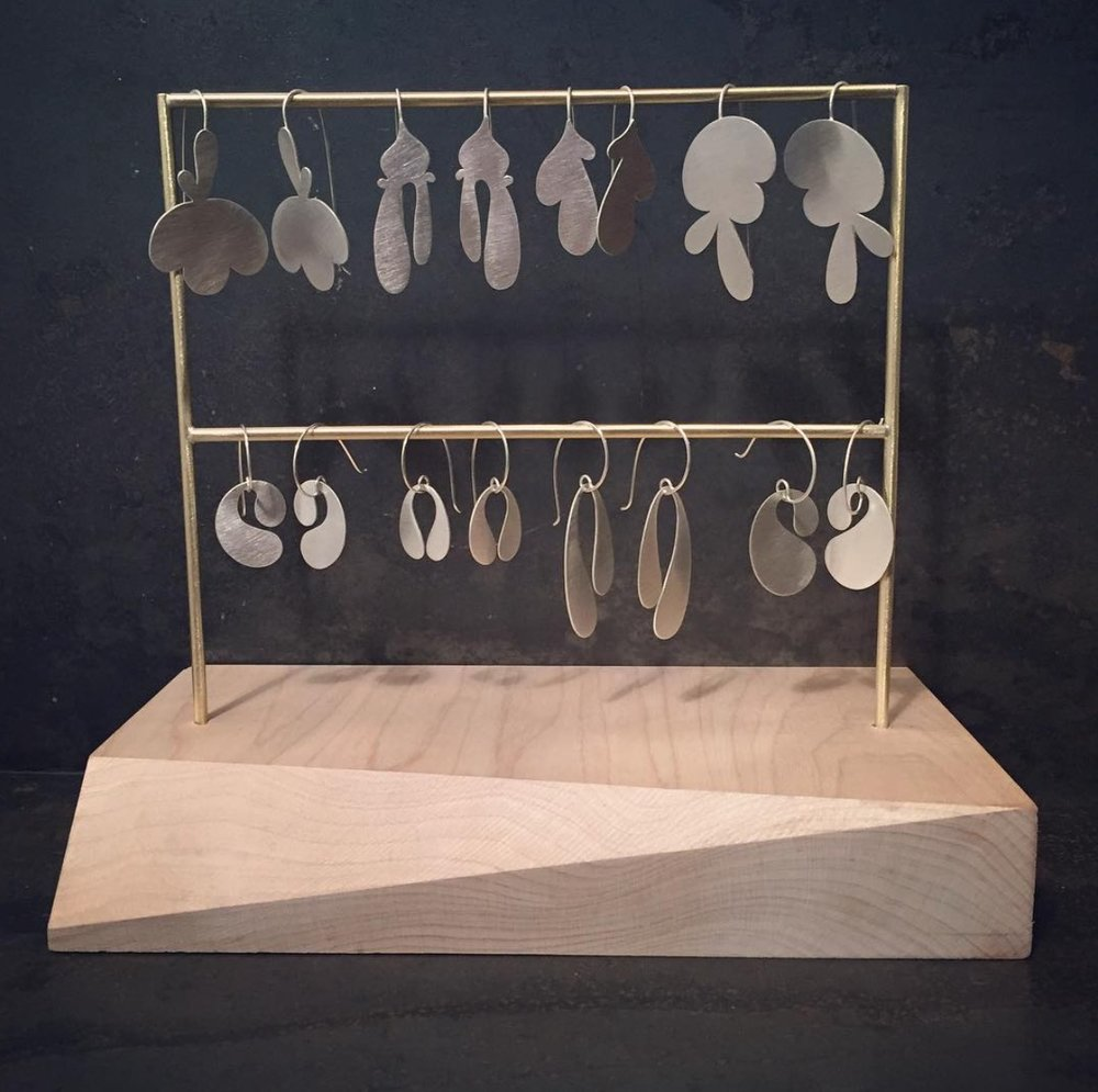 """Made some nifty earring display stands today! I'm excited to share my work along with five other talented local ladies at A Lovely Little Pop-Up, 291 Main St. Beacon NY, Saturday 2/11 (11-9pm) & Sun 2/12 (10-4pm.) Beautiful fresh flowers, delicious baked goods, gorgeous handmade wearables & art jewelry ...come say hello! "" Photo Credit: Margaux Lange Jewelry"