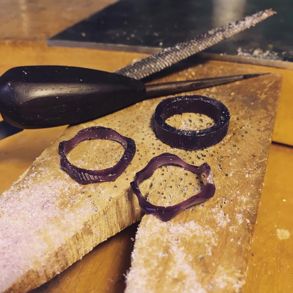 """I absolutely love carving wax rings. I usually use purple wax because I like the color and it matches my purple heart-carving tool."" Photo Credit: Kit Burke-Smith Jewelry"