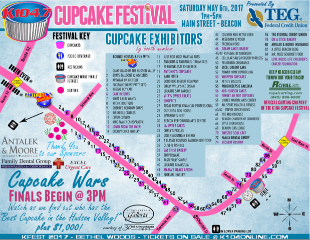 Official Vendor Map of the 2017 Cupcake Festival from K104.7