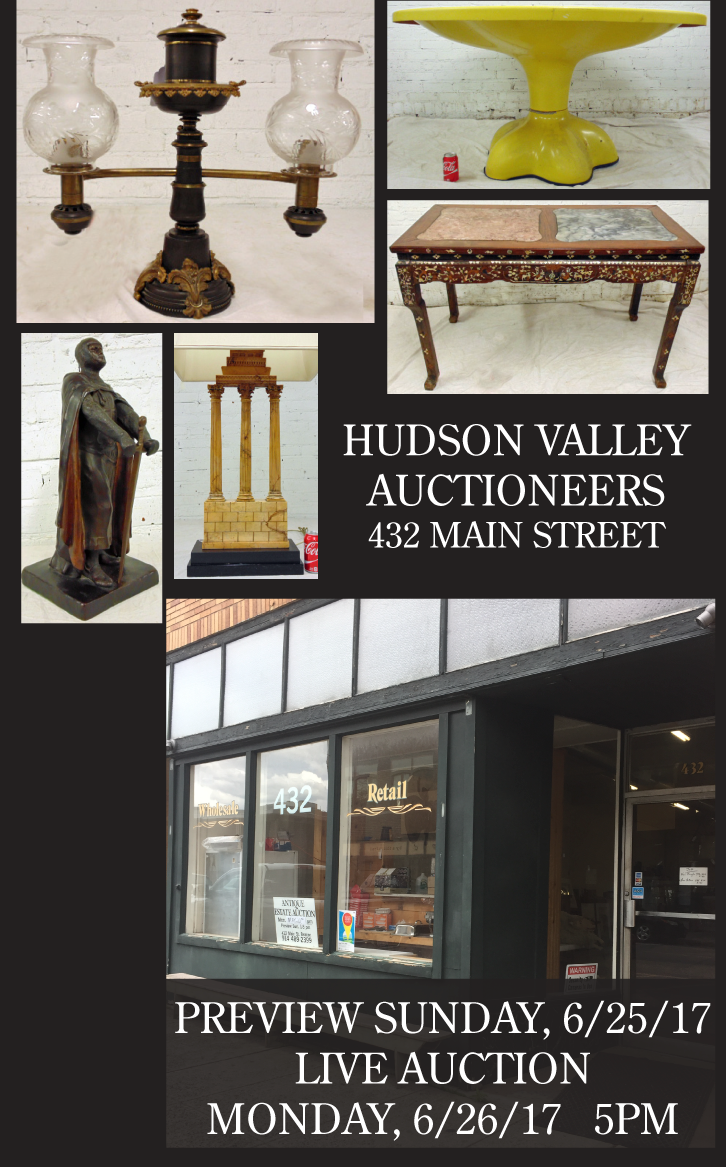 Sponsor: Hudson Valley Auctioneers is opening again for a Preview on Sunday June 25th, and the Live Auction June 26th at 5pm.