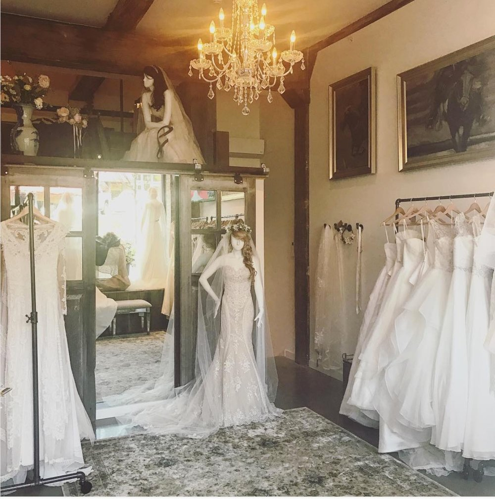 Showroom inside of Lambs Hill Bridal Boutique.