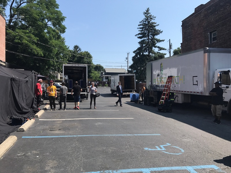 "The Vault's parking lot is taken over by the ""Big Dogs"" production crew. Having a convenient parking lot is very helpful for locations where movie scenes are being filmed.  Photo Credit: Bruno Barros"