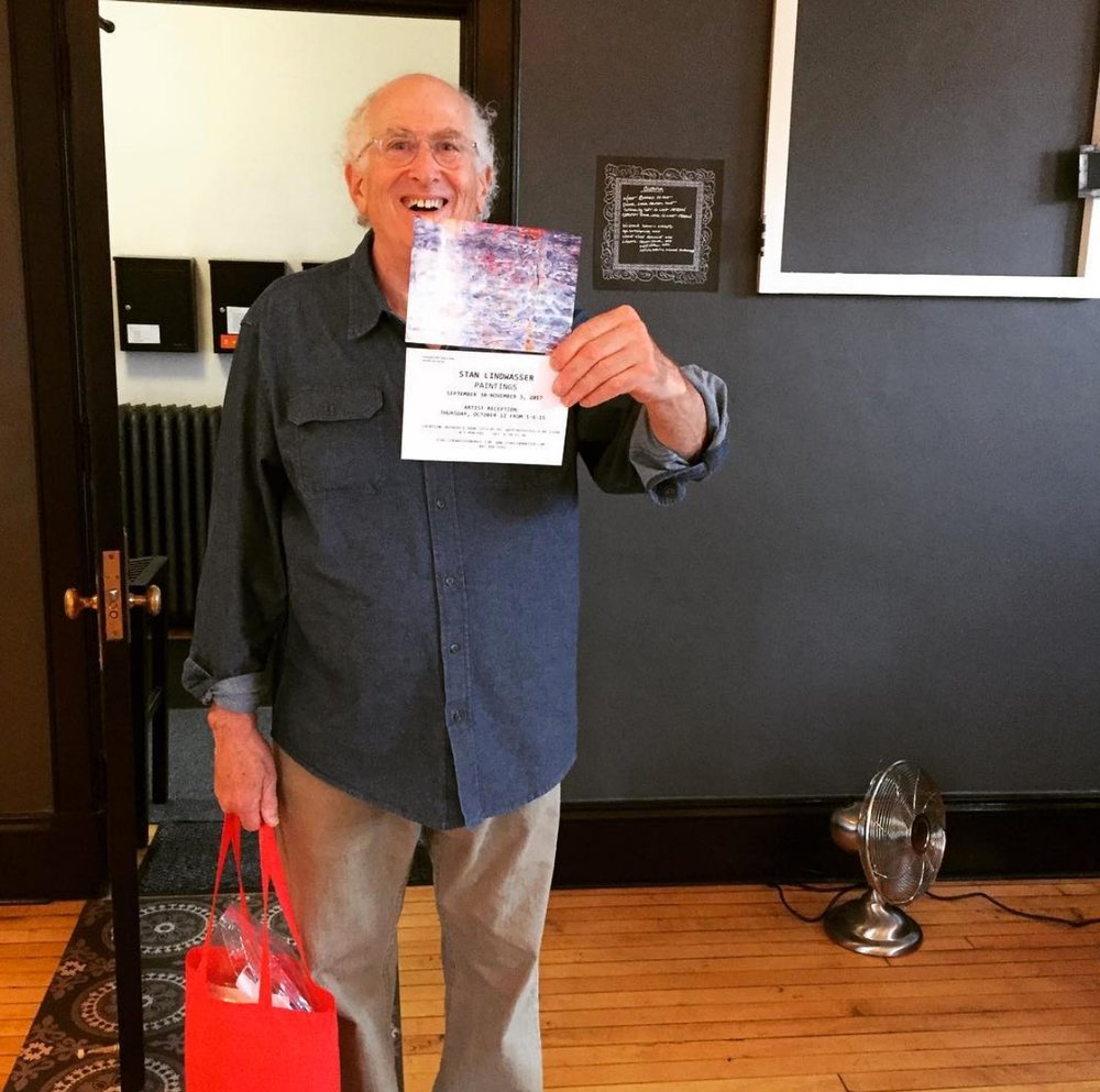 Here is Stanley, passing out flyers to his show at the new gallery space at Rhinebeck Bank.   Photo Credit: Tin Shingle
