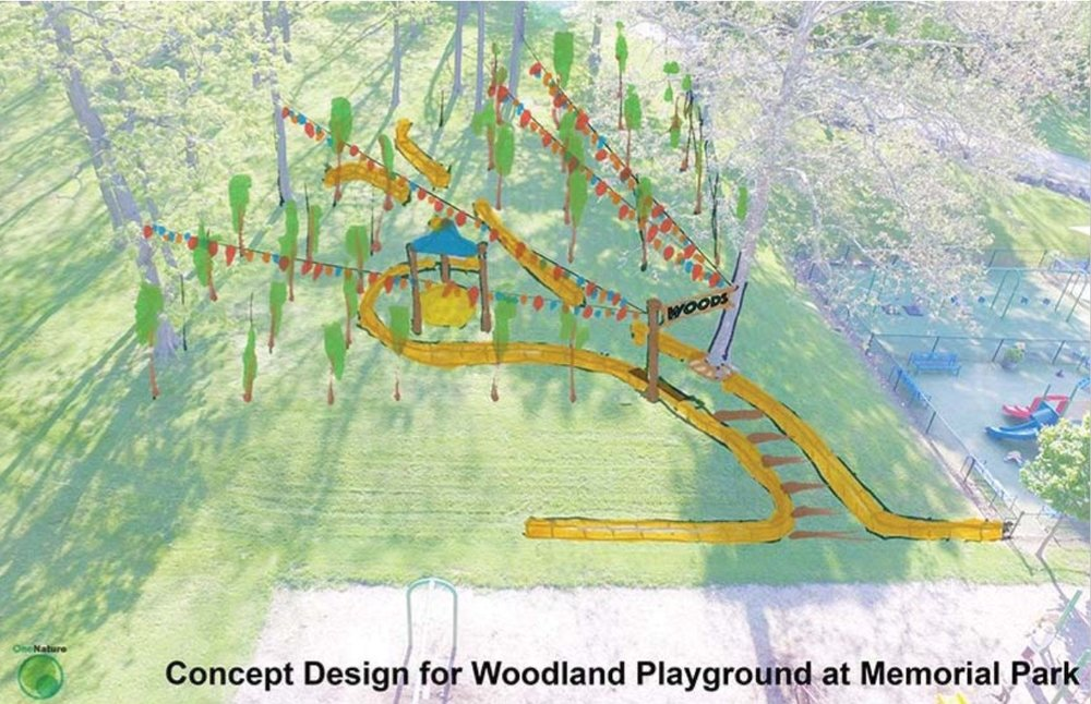 Concept Design for Woodland Playground at Memorial Park, by One Nature. Drawing part of  proposed plan.