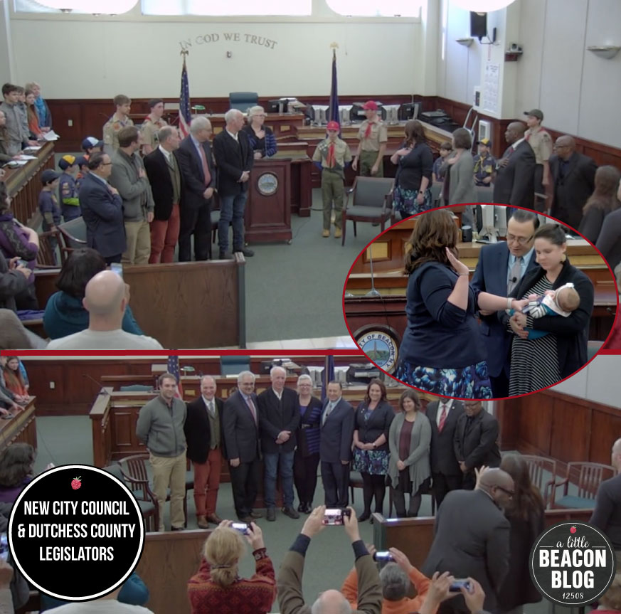 Photo Credit: Screenshot of Swearing In Ceremony from video produced by Peter Skorewicz. Graphic Art Credit: A Little Beacon Blog