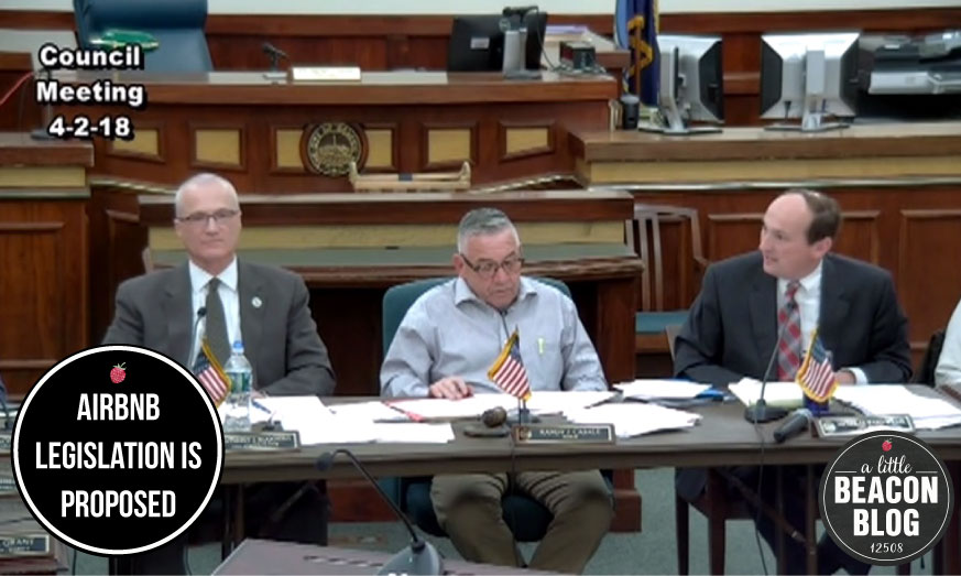 Pictured here is the City Attorney Nicholas Ward-Willis (at right), the Mayor Randy Casale (at center) and the City Administrator Anthony Ruggiero (at left).  Photo Credit: Screenshot of the Workshop meeting. Video produced by Peter Skorewicz