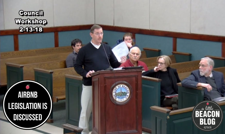 Pictured here is Beacon's Building Inspector, Timothy Dexter, speaking to the City Council during a Workshop meeting of proposed legislation for short-term rentals, often listed on websites like Airbnb.  Photo Credit: Screenshot of the Workshop meeting. Video produced by Peter Skorewicz.