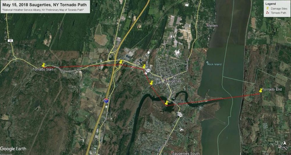 A map of a tornado path in Saugerties shows a tornado traveling across the Hudson River.  Photo Credit: National Weather Service via  Hudson Valley Weather .