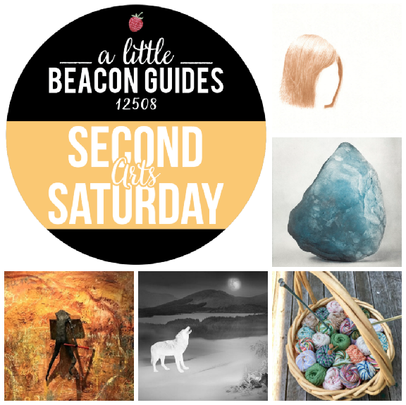 Second Saturday, June 9! Art happenings in Beacon include, clockwise from top right, Kazumi Tanaka at Matteawan Gallery; Bernice Ficek-Swenson at No. 3 Reading Room and Photo Book Works; Knit Us As One at St. Andrew's Church;  Photo Requests From Solitary  at the Howland Public Library;  Women Warriors  at Maria Lago Studio 502.