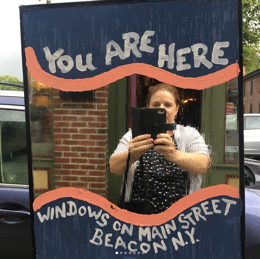 Window:  Oak Vino 389 Main Street  Artist:  Donna Mikkelsen  Photo Credit:  BeaconArts