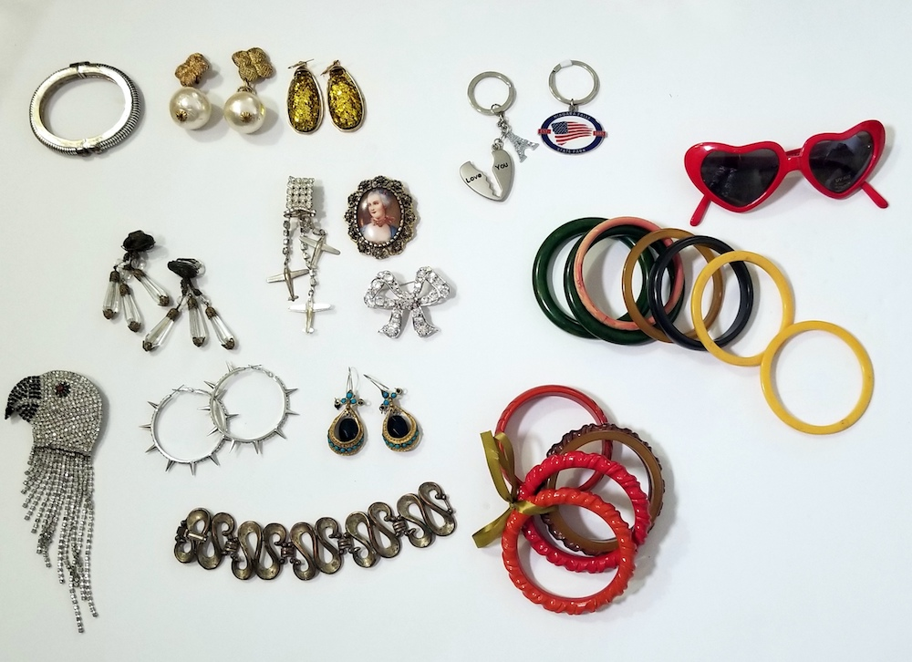 Jewelry, bakelite braclets,70's earrings,  Pins.jpg