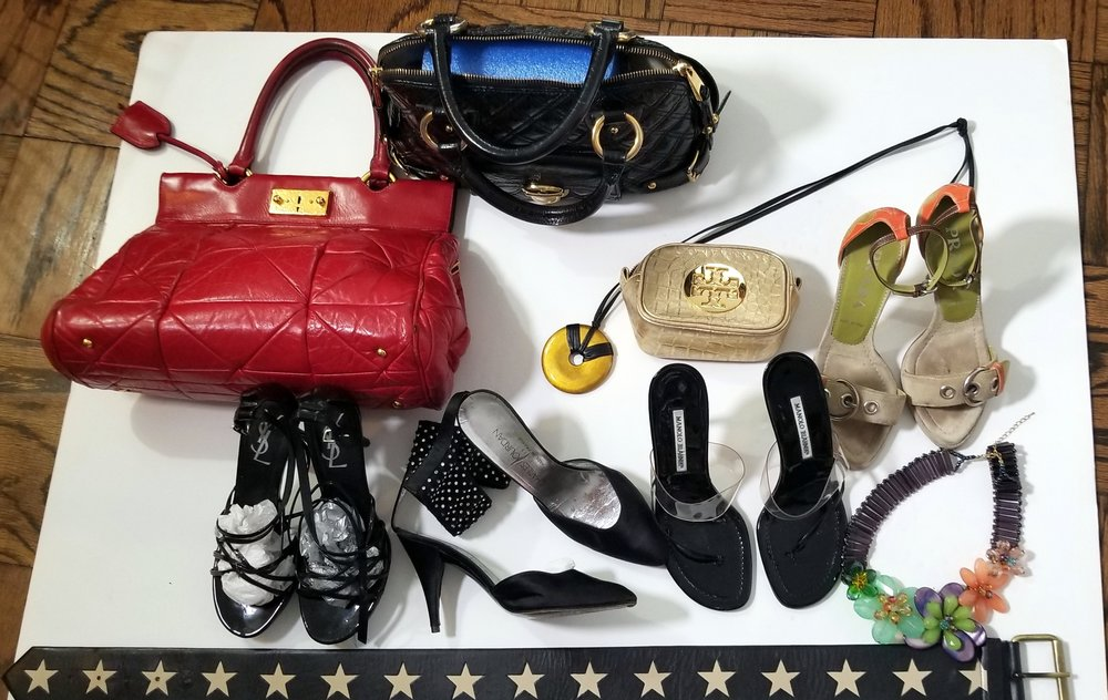 Marc Jacobs hand bags, Tory Burch makeup,Prada,YSL,vintage ,Manohlo Blahnick,jewerly, belts.jpg