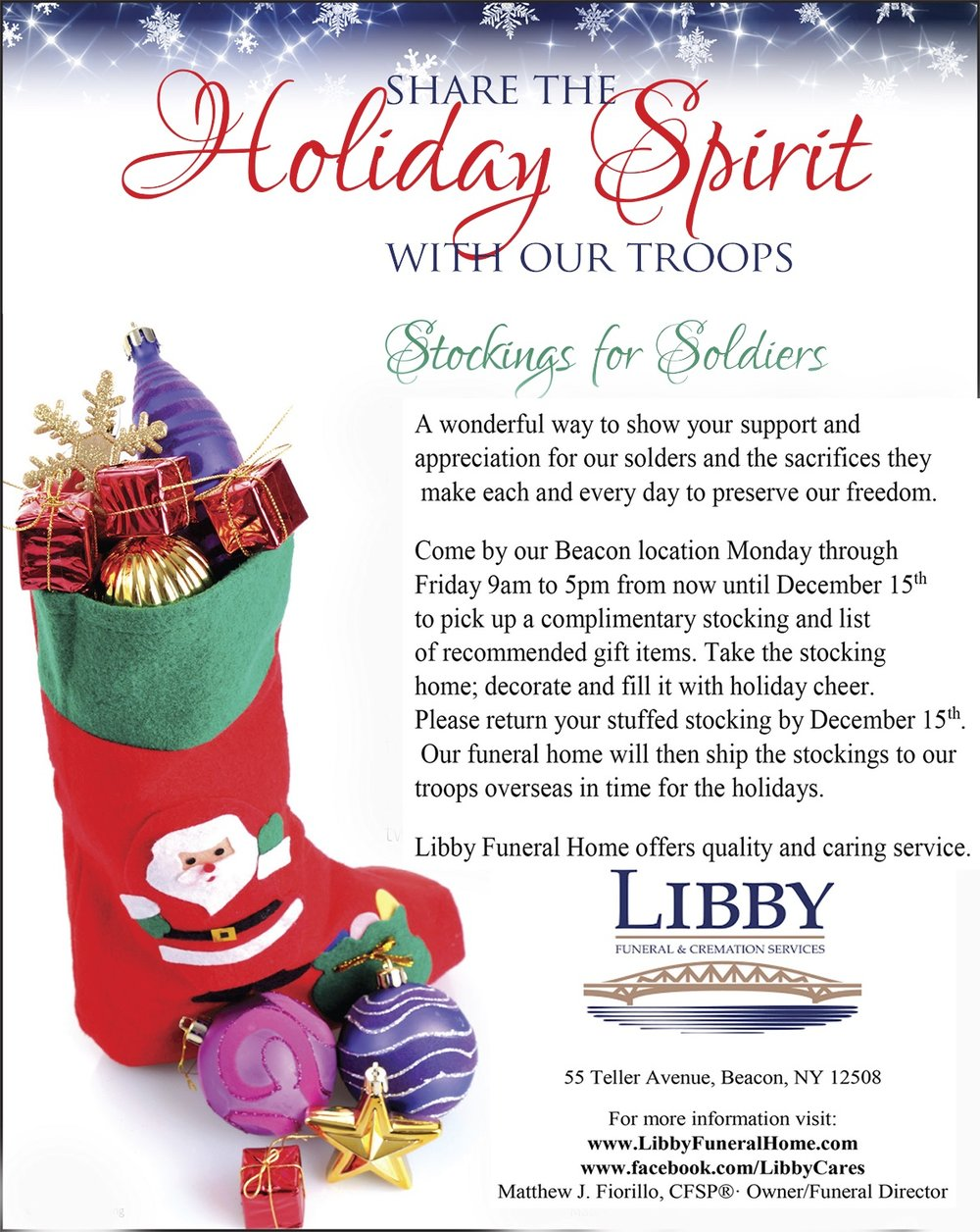 Stockings for Soldiers - Stuff a Stocking For a Soldier, and Libby ...