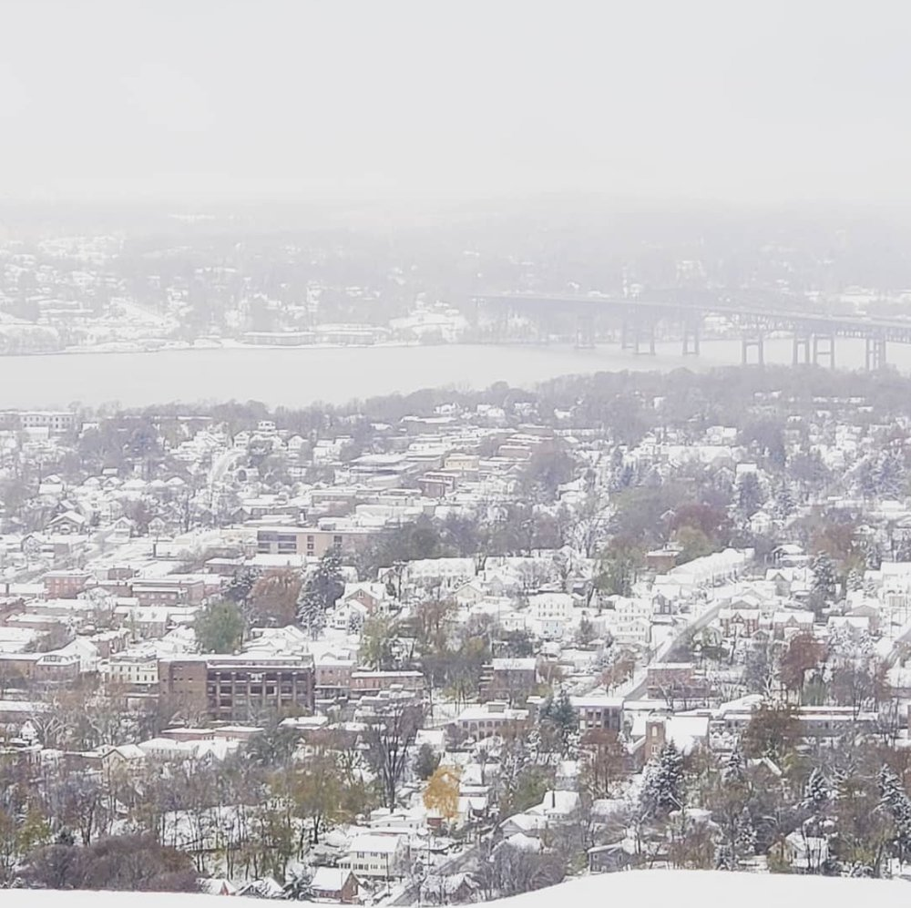 Lambs Hill Bridal Boutique at the base of the mountain is not open today due to snow, but this is the view from the  Lambs Hill Wedding Venue  at the top of Mount Beacon, overlooking the city-town. Photo Credit:  Lambs Hill