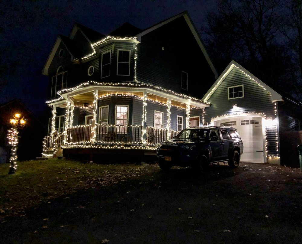 Celebrating their first holiday season in Beacon, Allison and Chris built their house from scratch. You've probably seen it on 9D on the way to the train station just after the Southern Dutchess Country Club. Next year they promise MORE lights to outline the entire house.