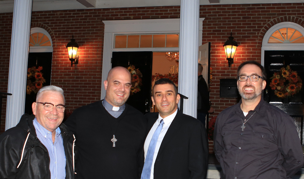 "Speakers at the ""One Beacon"" event in November 2018, from left to right: Mayor Randy Casale, Pastor Bill Dandreano of Salem Tabernacle, Rabbi Brent Chaim Spodek of Beacon Hebrew Alliance, and Pastor Ben Larson-Wolbrink of First Presbyterian Church. Racist and antisemitic flyers had been posted onto the First Presbyterian Churce and Salem Tabernacle. ""One Beacon"" was the group response to that.  Photo Credit:    Frank Ritter Photography"
