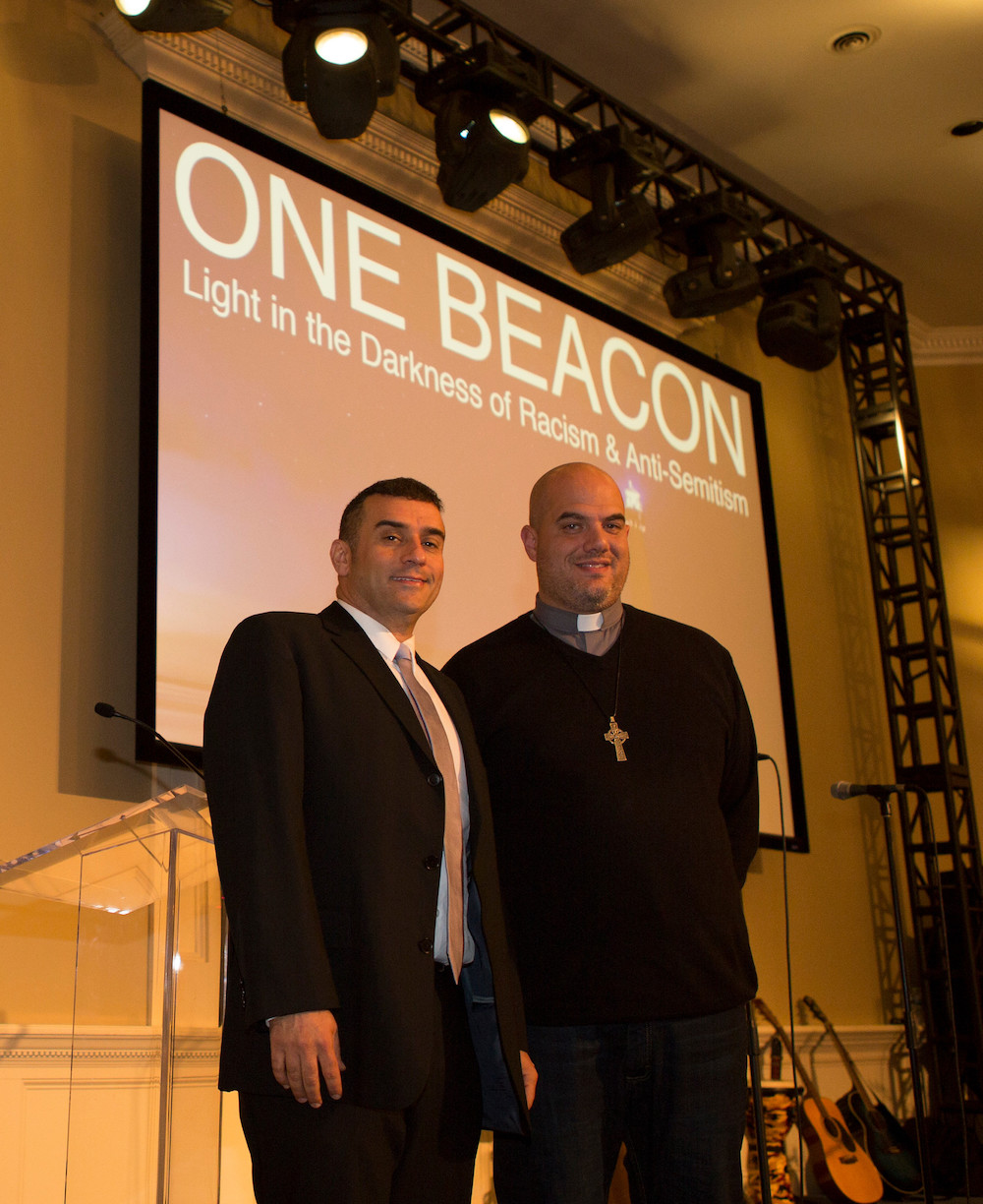 "Presenting to the ""One Beacon"" event. From left: Rabbi Brent Chaim Spodek and Pastor Bill Dandreano.  Photo Credit:    Frank Ritter Photography"