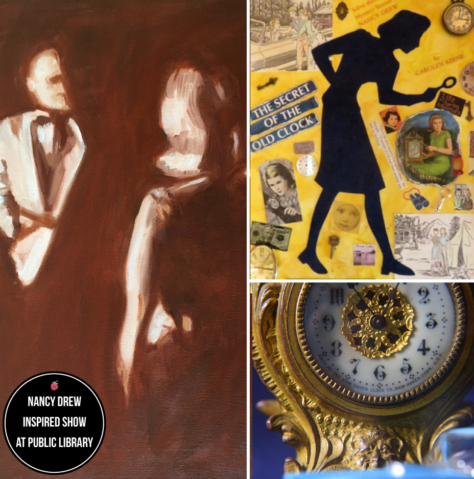 "Nancy Drew Inspired art: At left, Anna West's ""Good Girl""; Top Right, Jean Noack's ""The Secret""; below Right, ""Nancy Drew"" by Philomena Kiernan  Photo Credit: Anna West (left) and Philomena Kiernan (right)."