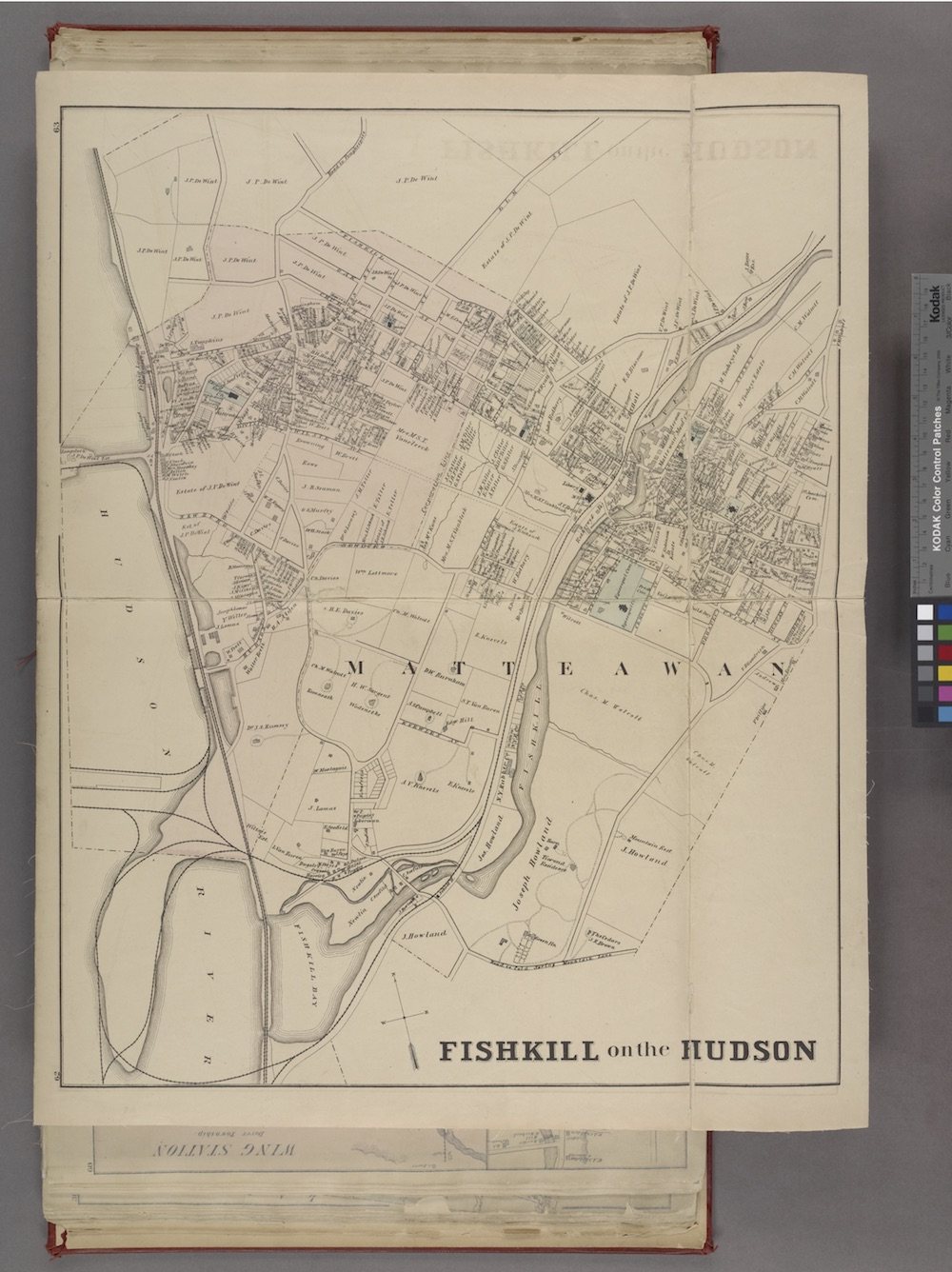 A map of Beacon from 1876, when the town was known as Fishkill on the Hudson. The Map shows the Matteawan stream.