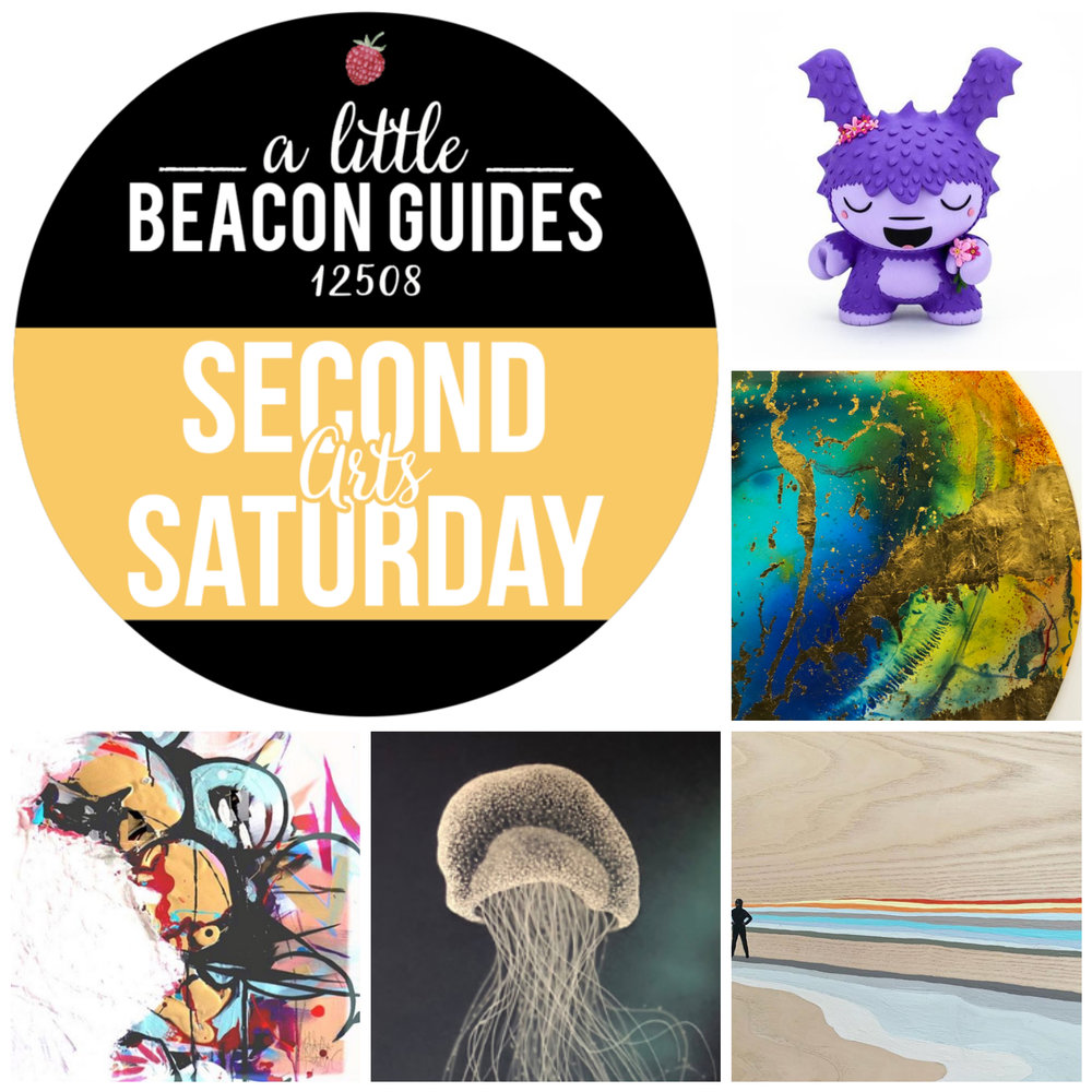 Second Saturday. Beacon, NY. April 13, 2019. Be there! Clockwise from top right: Jenn Bot at Clutter Gallery; John Sabraw at Beacon Institute for River and Estuaries; Margot Kingon at Catalyst Gallery; Carla Goldberg at bau; Joshua Spivack at Artifact Beacon.