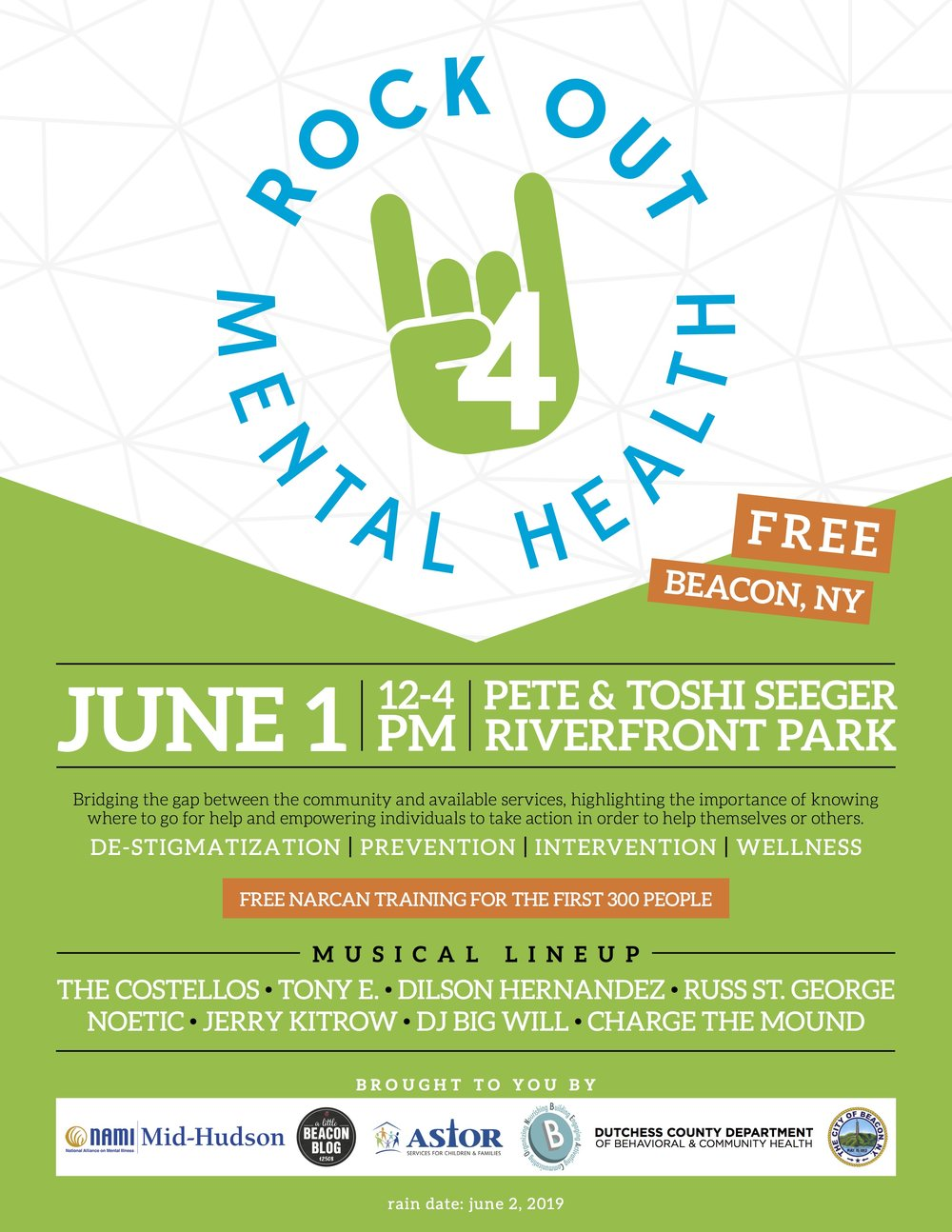 """The """"Rock Out 4 Mental Health"""" flyer. Room for sponsor logos if you sign up in time!"""