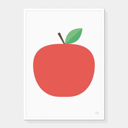 big red apple art print showler and showler
