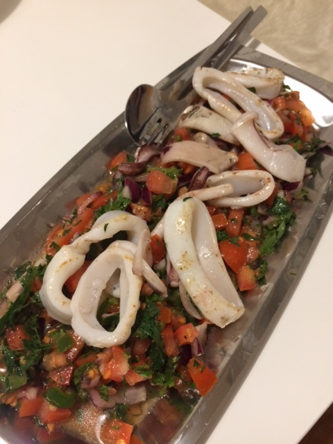 Home made squid and fresh salsa