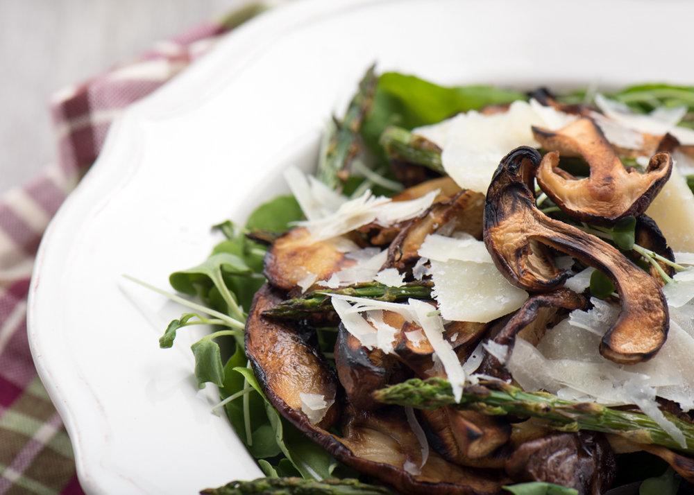 grilled mushroom, asparagus and arugula salad
