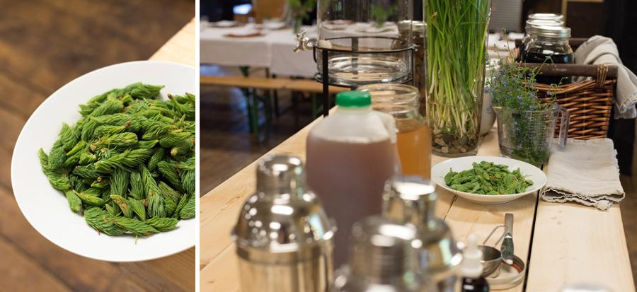 Ingredients for Sarah's welcome mock-tail: Elderflower Spruce Cider Fizz.