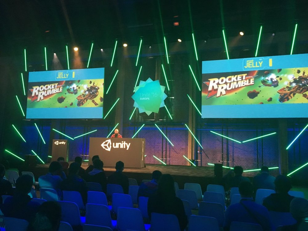 NAte at Unite europe 2016, explaining how Small Jelly uses Playmaker on Rocket Rumble