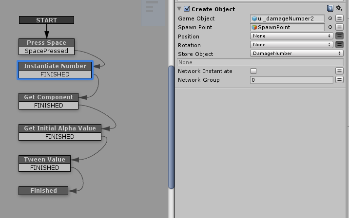 Create a game object and store it as a variable