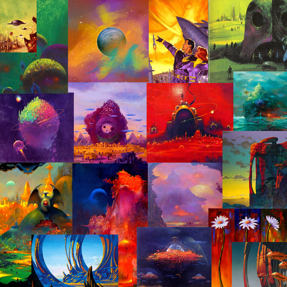 Colour palette reference. Artists include Paul Lehr and Roger Dean.