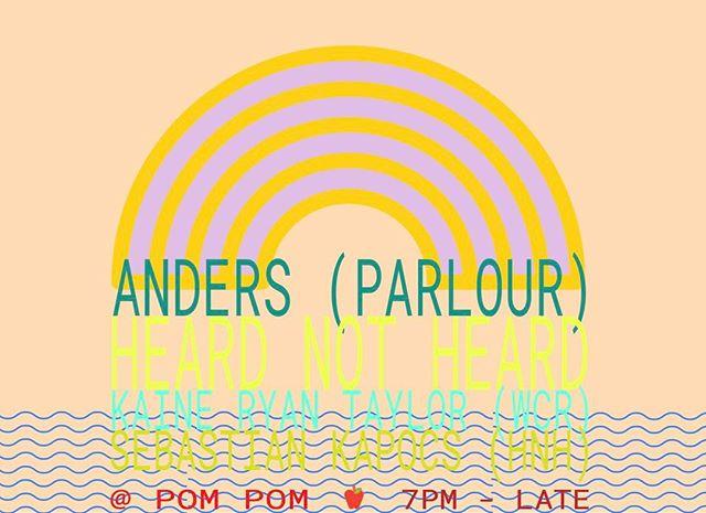 Skärtorsdagsspecial ikväll! @andersmotr & @kaineryantaylor spelar skivor från 19.00 🌞🌞🌞 #heardnotheard passar även på att spela in ett mixtape 🍎🍕📀 #djpåpompom