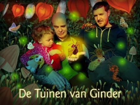 Rieks Veenker (midden) met kleindochter Nora, rechts illustrator Coen Hamelink.