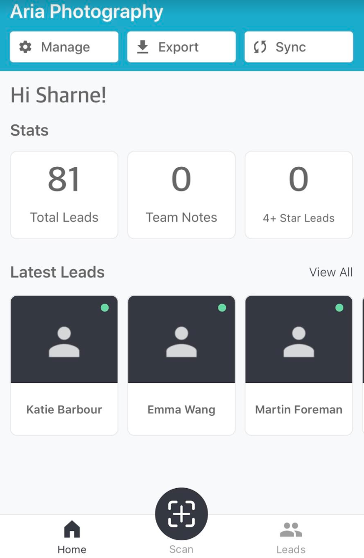 EXAMPLE OF THE LEAD GENERATION APP HOME SCREEN