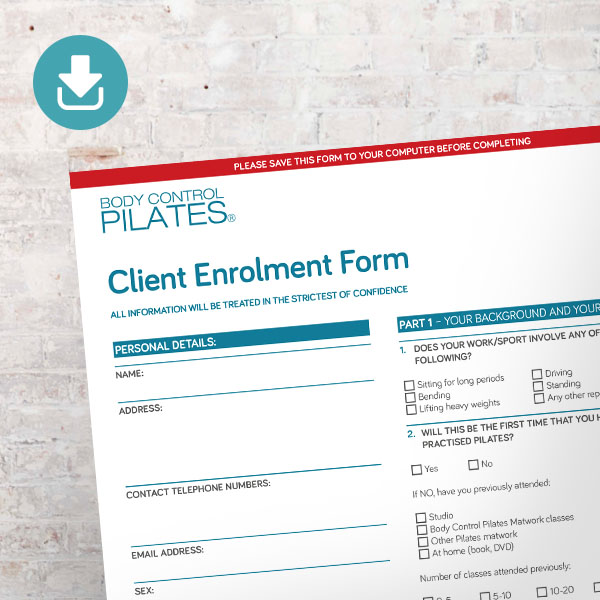 Pilates by Helena Client Enrolment Form. Pilates London.