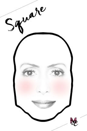 The face has a more straight or sharp (could be very noticeable) jawline – it is different than the round face.