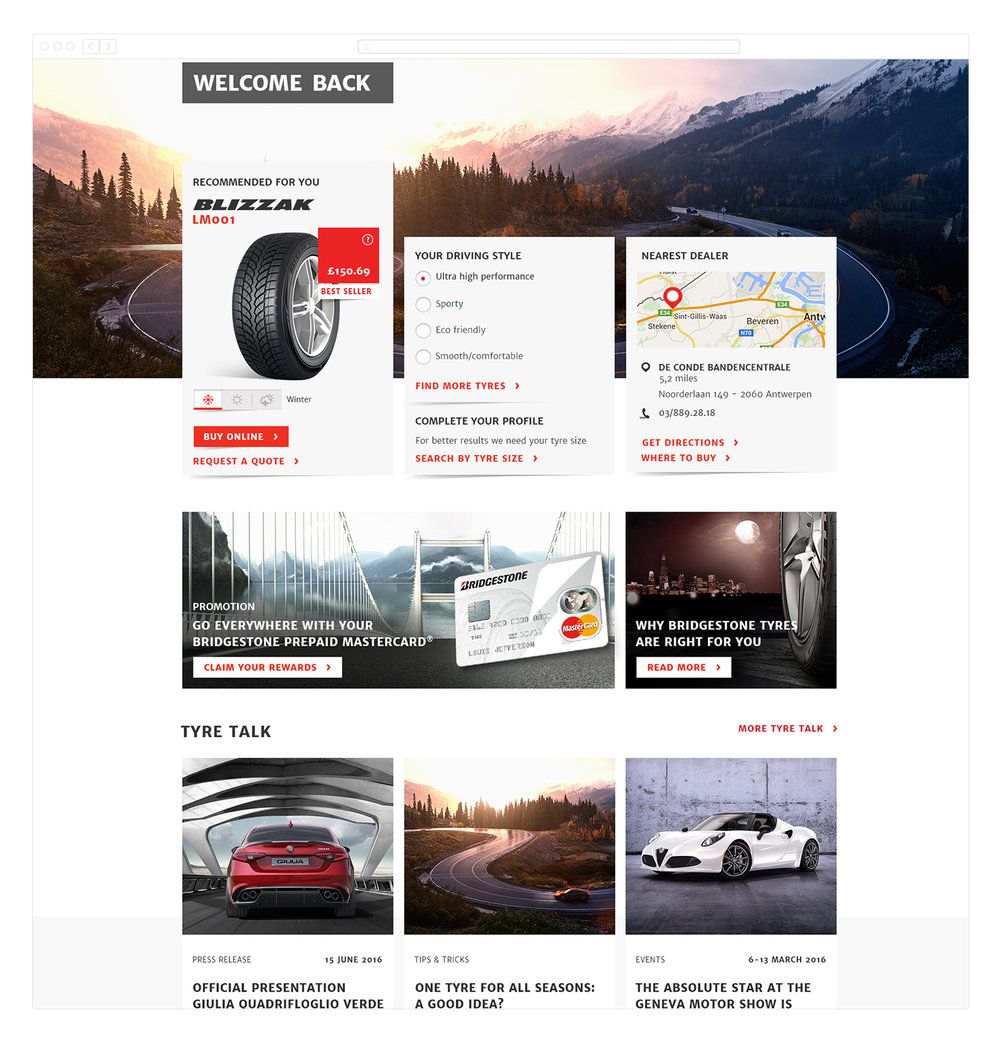 One of the first proportions for the homepage personalization. The header was too heavy and it was unclear to the customer how they had to complete their tyre profile.