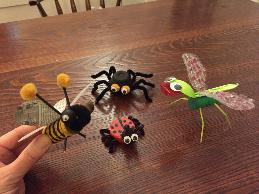 Update Class 7: Things that crawl or fly   Turns out we don't go through as much Tropicana OJ as I thought, so the lion will have to wait! Since we didn't have a chance to make the spider during our Halloween zombie class, let's see what kind of bugs the kids come up with.   Mine included:   Bumblebee - cork, acorns (picked up from the soccer fields), newspaper wings   Spider - egg container, pipe cleaners  Ladybug - milk lid, wine cap head, pipe cleaners  Dragonfly - cork body, plastic spoon, toothpicks, bubble wrap, and a contact lens case