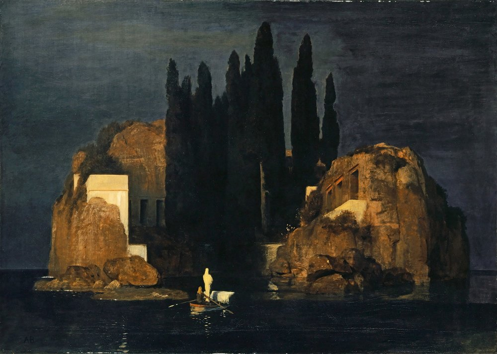 ISLE OF THE DEAD  by Arnold Böcklin, 1886  This very famous painting by Swiss artist Arnold Böcklin is one I have liked for a long time, but I have never seen it 'in person', so to speak. I had read it was at the museum but when I didn't see it anywhere, I thought maybe I was mistaken. As I was browsing through the museum shop at the end of my visit, I saw a postcard of it and asked whether the painting was being shown. She told me that it had temporarily been moved to another part of the museum (oddly an area where they were showing contemporary art, and who gives a fuck about that?), so I went and got to look at it. I was already tired at that point - my brain shuts down after about an hour in museums because it absorbs so much - so I wasn't as receptive as I would have liked to be. Will surely go back at some point and give it my full attention. It's a little smaller than I expected.