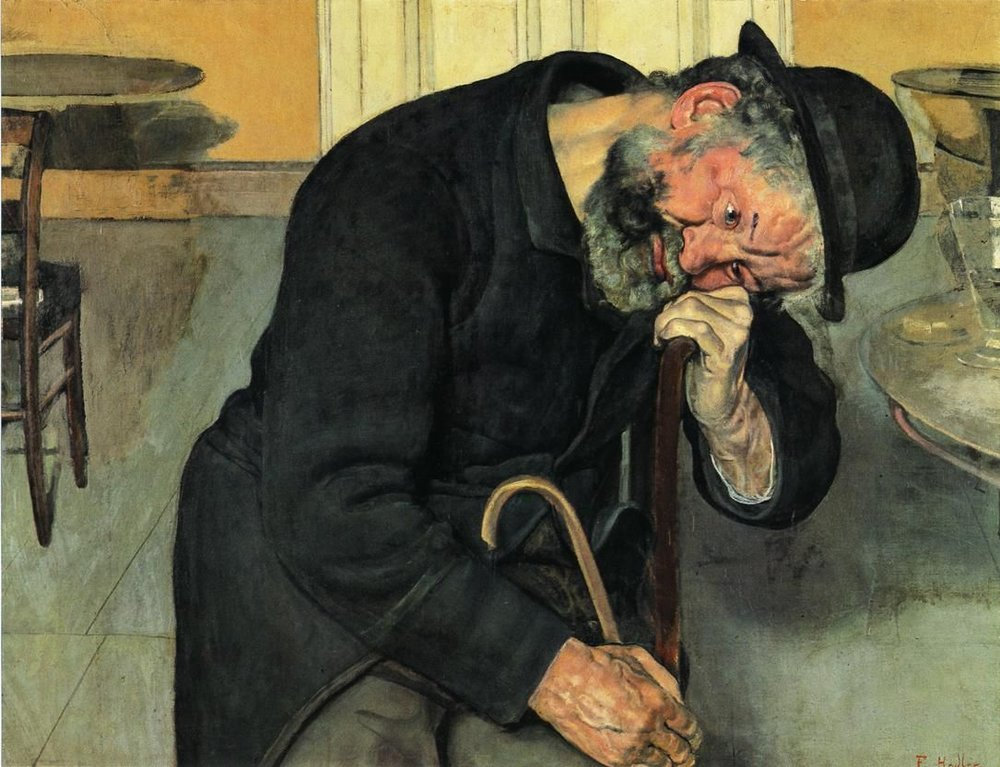 DISAPPOINTED SOUL (OLD MAN)  by Friedrich Hodler, 1889  Here we've got the disappointed soul as an old man.