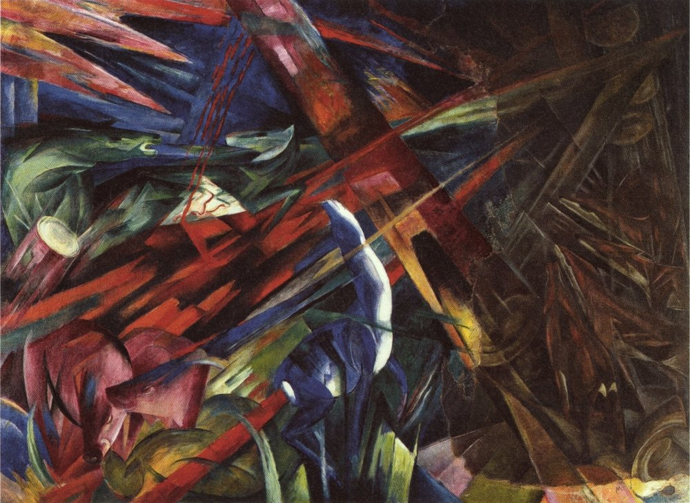 THE FATE OF THE ANIMALS  by Franz Marc, 1913  Franz Marc is a painter I have been aware of but his style never spoke to me (it reminded me too much of Chagall), but today I sat transfixed in front of this painting that was finished shortly before the outbreak of World War I. Reading about the painting it becomes clear that it is one of foreshadowing and great enigmatic power. And you can feel it. Depicting animals in the woods struggling in a fire, the painting itself was partially burned down in a fire and later restored by Paul Klee. It is unclear why Klee decided to use brown color for his restoration.