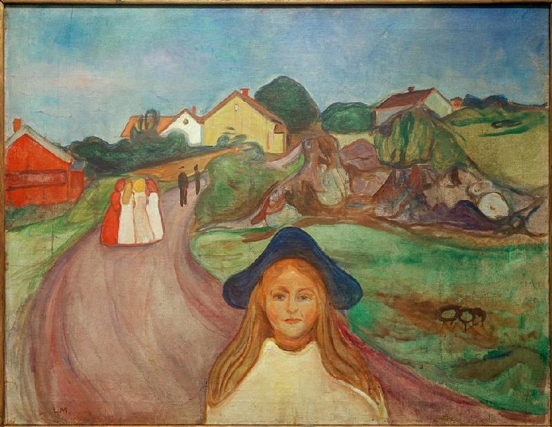 STREET IN ASGARDSTRAND  by Edvard Munch, 1901  I guess this spoke to me because I saw myself in it. I felt very much like an outsider growing up, and I felt particularly disconnected during puberty. It seemed like all the other girls were in in some secret that I didn't understand. This I see represented in the circle of girls or women standing so close together that it looks like they won't let you in. And the heroine is standing alone, facing away from them, looking at us very directly - she doesn't seem confused nor distraught, her gaze is too confident. She seems okay to be standing alone. And yet she's wondering - asking us - where her place is in the world. I don't know anything about the background of this painting, but to me it's about identity.