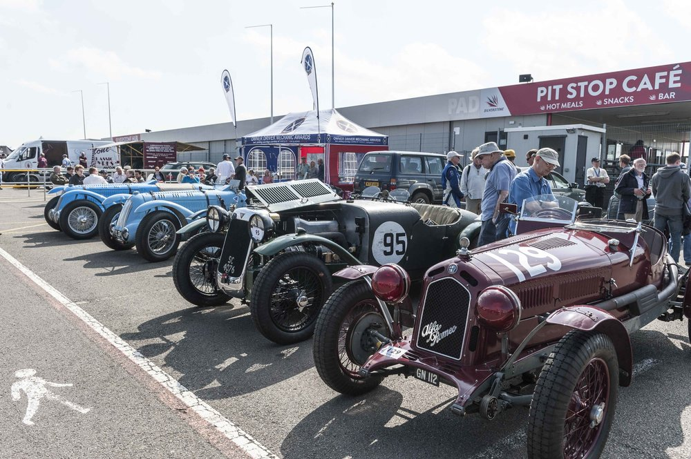 A fine ODM paddock included the Talbot-Lagos of Pilkington and Guyatt,  Hayward's Alvis 12/75 FD and  Alex Pilkington's 6c Alfa Romeo:   Peter McFadyen