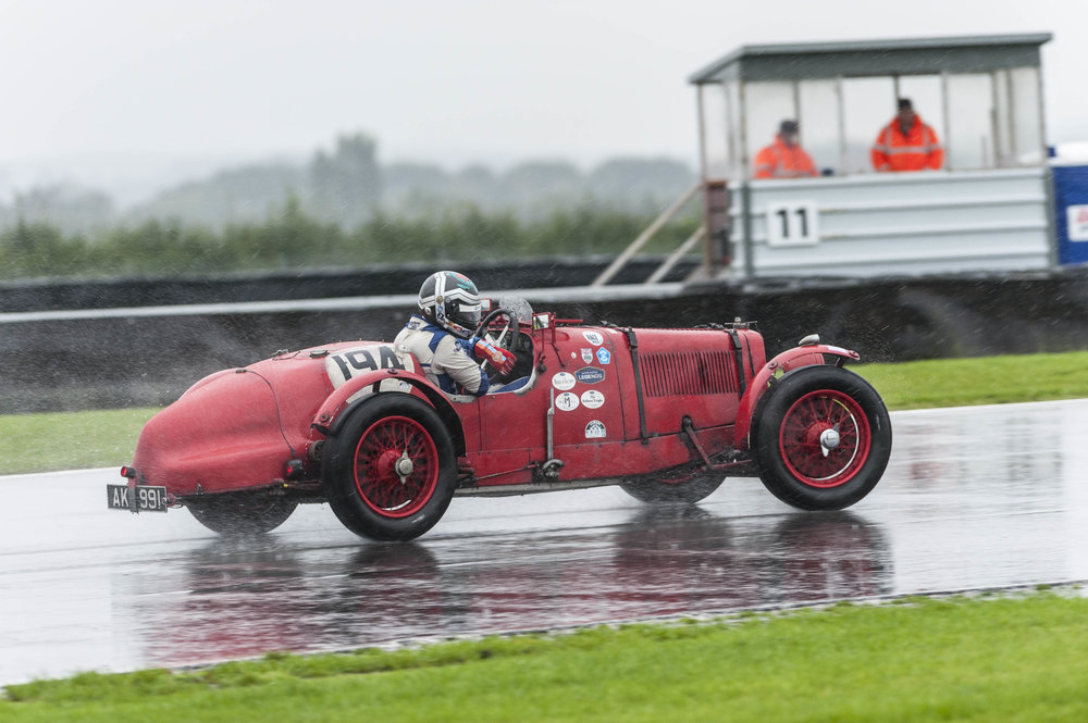 Richard Bradley applying opposite lock in the wet conditions:  Peter McFadyen
