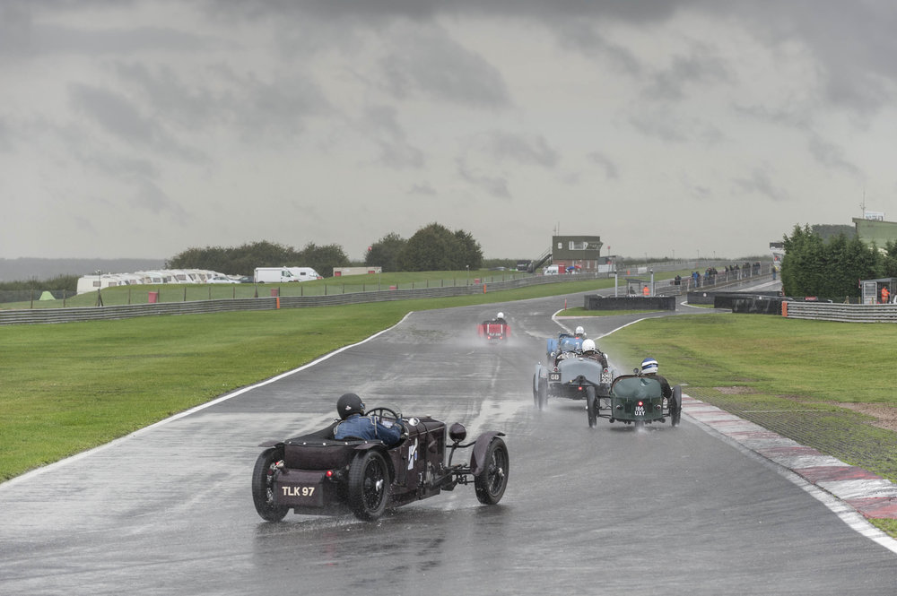 Jo Blakeney Edwards in the Frazer Nash follows Edwards and Brett in the Norfolk downpour:  Peter McFadyen