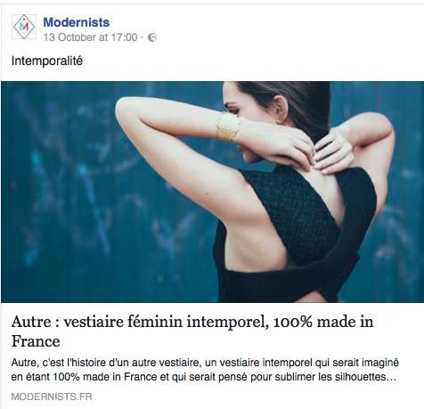 Article sur la marque et son lancement par le site Modernists.
