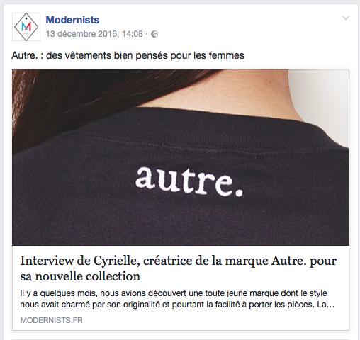 Interview de la créatrice pour le webzine Modernists