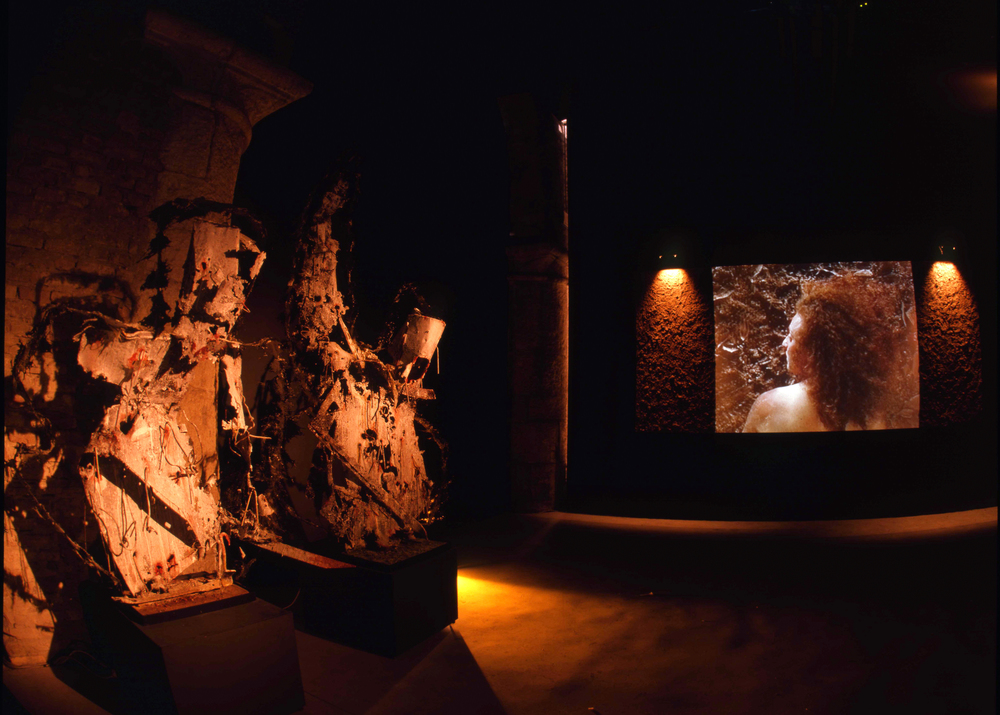 HERMES,  video and audio loop, soil, lights , Malta Pavilion, 48th Venice Biennale, 1999