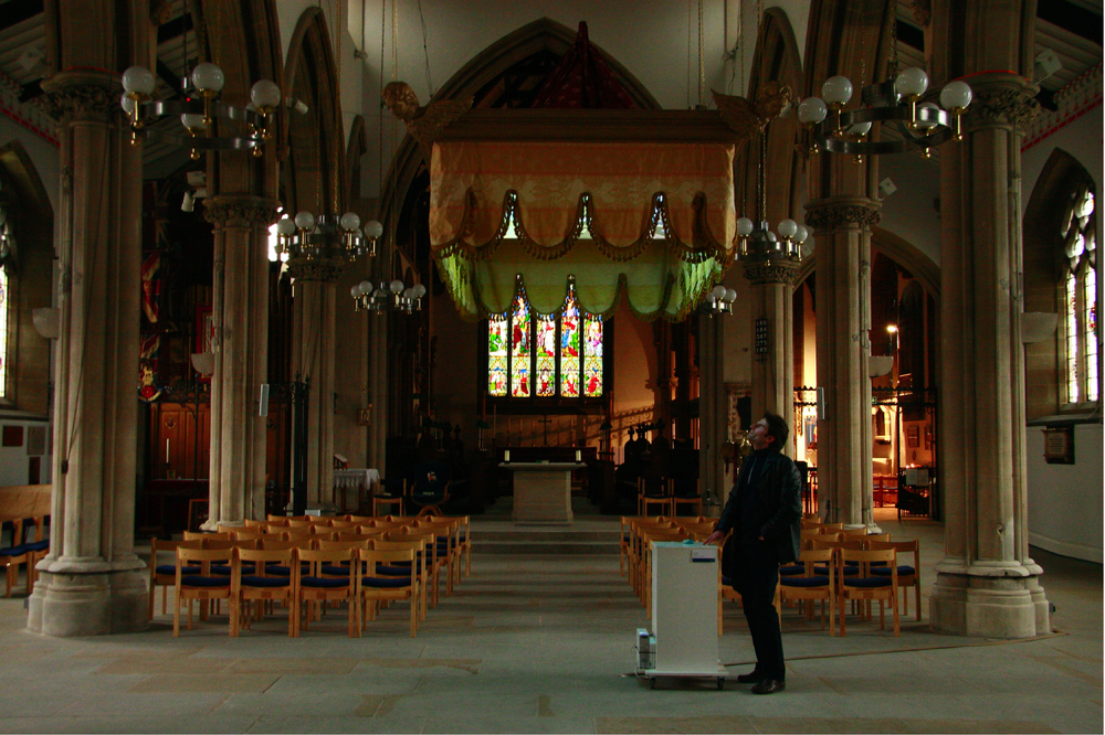 PLAYING GOD,  interactive database movie, sound, sculpture , site specific installation, the Preston Minster, Preston, UK, 2007